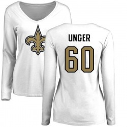 Women's Max Unger New Orleans Saints Name & Number Logo Slim Fit Long Sleeve T-Shirt - White
