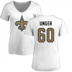 Women's Max Unger New Orleans Saints Name & Number Logo Slim Fit T-Shirt - White