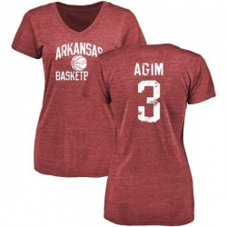 Women's McTelvin Agim Arkansas Razorbacks Distressed Basketball Tri-Blend V-Neck T-Shirt - Cardinal
