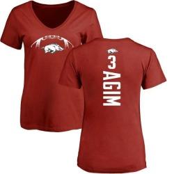Women's McTelvin Agim Arkansas Razorbacks Football Backer V-Neck T-Shirt - Cardinal