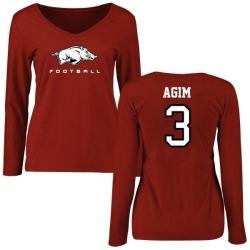 Women's McTelvin Agim Arkansas Razorbacks Football Slim Fit Long Sleeve T-Shirt - Cardinal