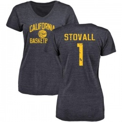 Women's Melquise Stovall Cal Bears Distressed Basketball Tri-Blend V-Neck T-Shirt - Navy
