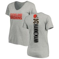 Women's Micah Hannemann Cleveland Browns Backer V-Neck T-Shirt - Ash