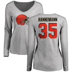 Women's Micah Hannemann Cleveland Browns Name & Number Logo Slim Fit Long Sleeve T-Shirt - Ash