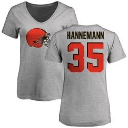 Women's Micah Hannemann Cleveland Browns Name & Number Logo Slim Fit T-Shirt - Ash