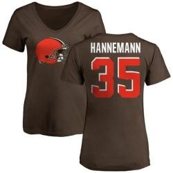 Women's Micah Hannemann Cleveland Browns Name & Number Logo Slim Fit T-Shirt - Brown
