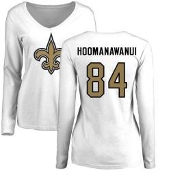 Women's Michael Hoomanawanui New Orleans Saints Name & Number Logo Slim Fit Long Sleeve T-Shirt - White