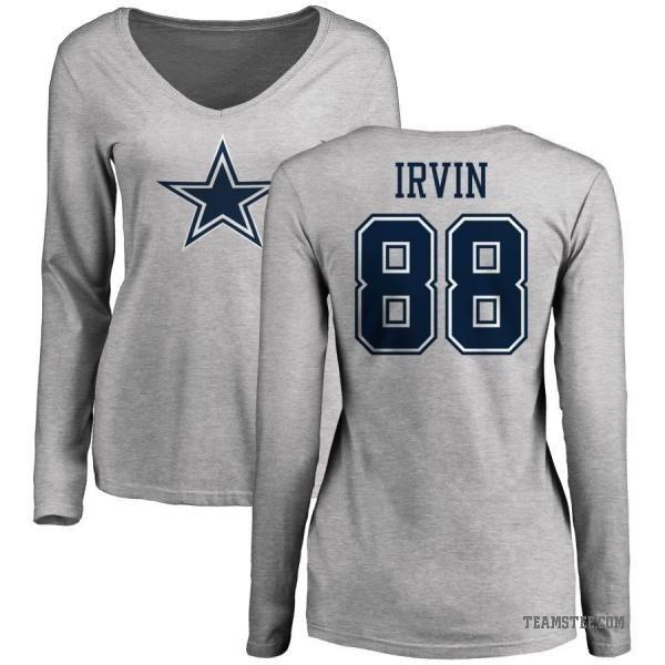 sale retailer 7ba51 5bb90 Women's Michael Irvin Dallas Cowboys Name & Number Logo Long Sleeve T-Shirt  - Ash - Teams Tee