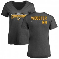 Women's Michael Webster Pittsburgh Penguins 2017 Eastern Conference Champions Name & Number V-Neck T-Shirt - Heather Gray