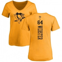 Women's Michael Webster Pittsburgh Penguins One Color Backer T-Shirt - Gold