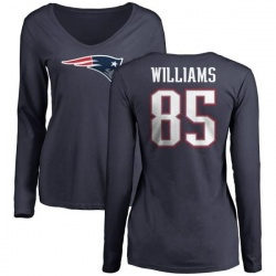 Women's Michael Williams New England Patriots Name & Number Logo Slim Fit Long Sleeve T-Shirt - Navy