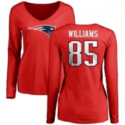 Women's Michael Williams New England Patriots Name & Number Logo Slim Fit Long Sleeve T-Shirt - Red