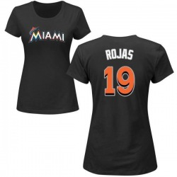 Women's Miguel Rojas Miami Marlins Roster Name & Number T-Shirt - Black
