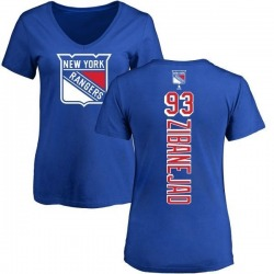 Women's Mika Zibanejad New York Rangers Backer T-Shirt - Blue