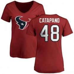 Women's Mike Catapano Houston Texans Name & Number Logo Slim Fit T-Shirt - Red