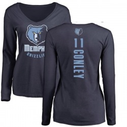 Women's Mike Conley Memphis Grizzlies Navy Backer Long Sleeve T-Shirt
