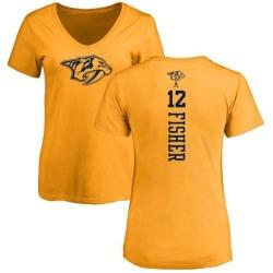 Women's Mike Fisher Nashville Predators One Color Backer T-Shirt - Gold
