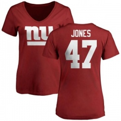 Women's Mike Jones New York Giants Name & Number Logo Slim Fit T-Shirt - Red