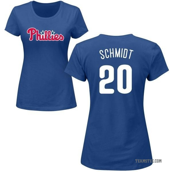 the best attitude 58afb 7b427 Women's Mike Schmidt Philadelphia Phillies Roster Name & Number T-Shirt -  Royal - Teams Tee
