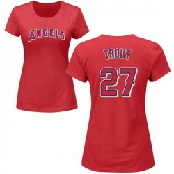 Women's Mike Trout Los Angeles Angels Roster Name & Number T-Shirt - Red