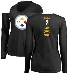 Women's Mike Vick Pittsburgh Steelers Backer Slim Fit Long Sleeve T-Shirt - Black