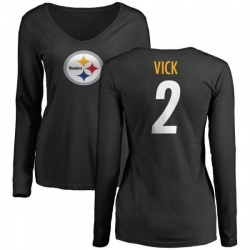 Women's Mike Vick Pittsburgh Steelers Name & Number Logo Slim Fit Long Sleeve T-Shirt - Black