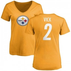 Women's Mike Vick Pittsburgh Steelers Name & Number Logo Slim Fit T-Shirt - Gold