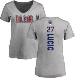 Women's Milan Lucic Edmonton Oilers Backer T-Shirt - Ash
