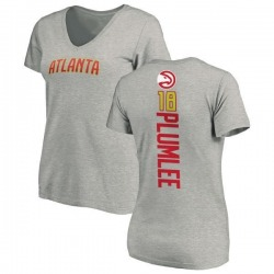 Women's Miles Plumlee Atlanta Hawks Ash Backer T-Shirt