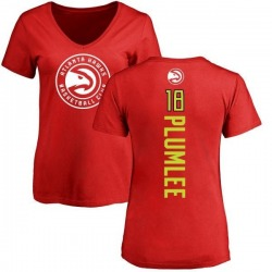 Women's Miles Plumlee Atlanta Hawks Red Backer T-Shirt