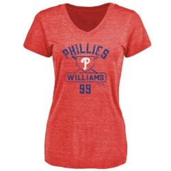 Women's Mitch Williams Philadelphia Phillies Base Runner Tri-Blend T-Shirt - Red