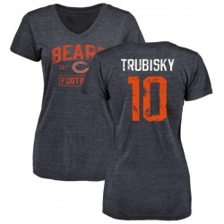 Women's Mitchell Trubisky Chicago Bears Navy Distressed Name & Number Tri-Blend V-Neck T-Shirt