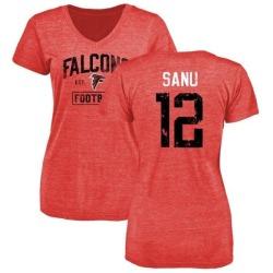 Women's Mohamed Sanu Atlanta Falcons Distressed Name & Number Tri-Blend T-Shirt - Red