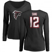 Women's Mohamed Sanu Atlanta Falcons Name & Number Logo Slim Fit Long Sleeve T-Shirt - Black