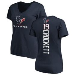 Women's Montay Crockett Houston Texans Backer Slim Fit T-Shirt - Navy
