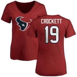Women's Montay Crockett Houston Texans Name & Number Logo Slim Fit T-Shirt - Red