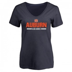 Women's Montravius Adams Auburn Tigers Sport V-Neck T-Shirt - Navy