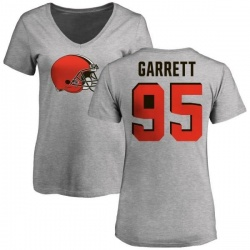 Women's Myles Garrett Cleveland Browns Name & Number Logo Slim Fit T-Shirt - Ash