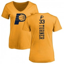 Women's Myles Turner Indiana Pacers Gold One Color Backer Slim-Fit V-Neck T-Shirt