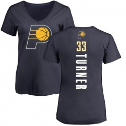 Women's Myles Turner Indiana Pacers Navy Backer T-Shirt