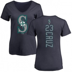 Women's Nelson Cruz Seattle Mariners Backer Slim Fit T-Shirt - Navy