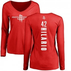 Women's Nene Hilario Houston Rockets Red Backer Long Sleeve T-Shirt