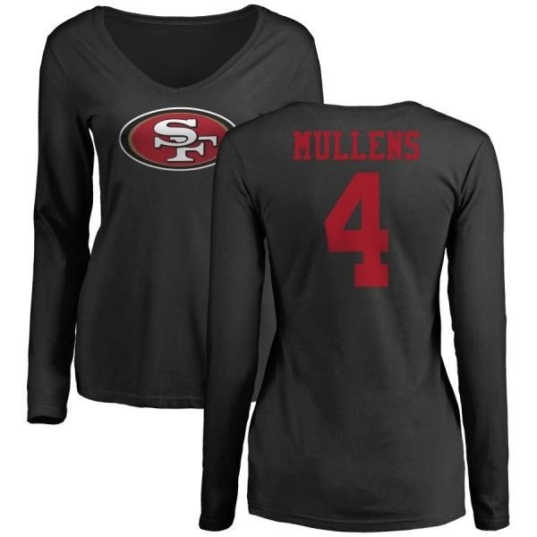 best loved ace5c c4ee1 Women's Nick Mullens San Francisco 49ers Name & Number Logo Slim Fit Long  Sleeve T-Shirt - Black - Teams Tee