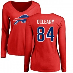 Women's Nick O'Leary Buffalo Bills Name & Number Logo Slim Fit Long Sleeve T-Shirt - Red