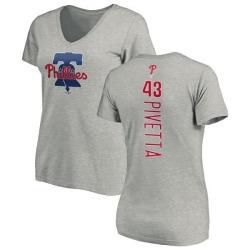 Women's Nick Pivetta Philadelphia Phillies Backer Slim Fit T-Shirt - Ash