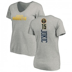 Women's Nikola Jokic Denver Nuggets Ash Backer T-Shirt