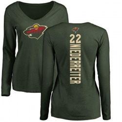 Women's Nino Niederreiter Minnesota Wild Backer Long Sleeve T-Shirt - Green