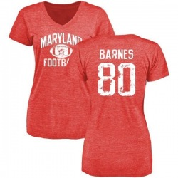 Women's Noah Barnes Maryland Terrapins Distressed Football Tri-Blend V-Neck T-Shirt - Red