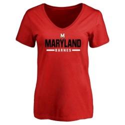 Women's Noah Barnes Maryland Terrapins Sport V-Neck T-Shirt - Red
