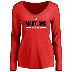 Women's Noah Barnes Maryland Terrapins Sport Wordmark Long Sleeve T-Shirt - Red